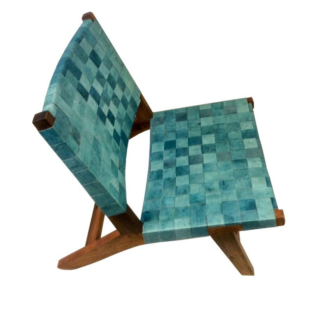 Woven Recylced Leather Lounge Chair Blue - Image 4 of 8