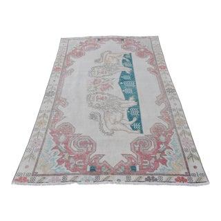 "Lion Designed Ushak Carpet - 6'9"" X 4'2"" For Sale"