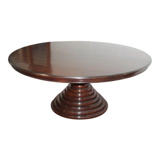 English Plum Pudding Mahogany Round Dining Table For Sale