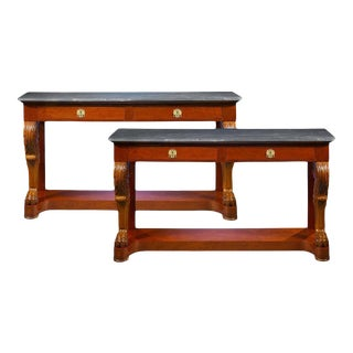 Pair of 19th Century Marble-Topped Console Tables For Sale