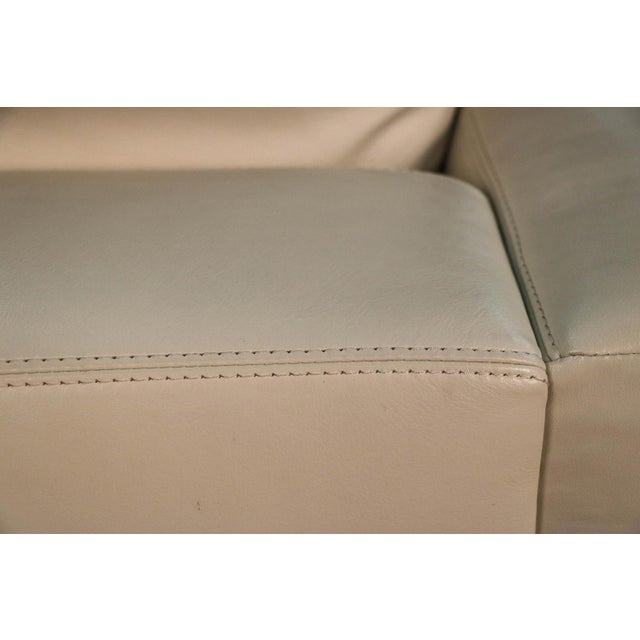 Animal Skin Mid Century White Leather Swivel Armchair for Design Within Reach For Sale - Image 7 of 11