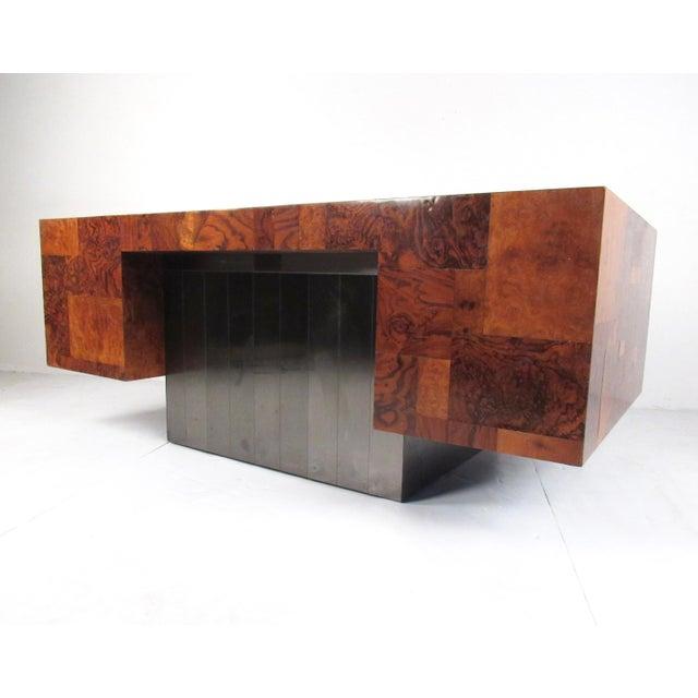 "Mid-Century Modern Paul Evans ""Cityscape"" Burlwood Executive Desk For Sale - Image 3 of 13"