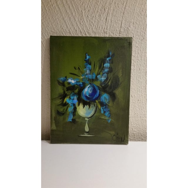 Blue Flowers in a Vase Painting - Image 2 of 5