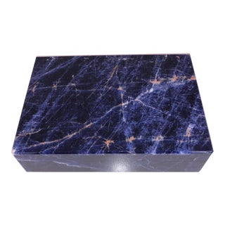 1960s Vintage Italian Stone Blue Sodalite Box For Sale