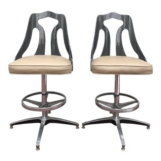 Mid-Century Vintage Smoked Lucite Swivel Barstool - A Pair For Sale