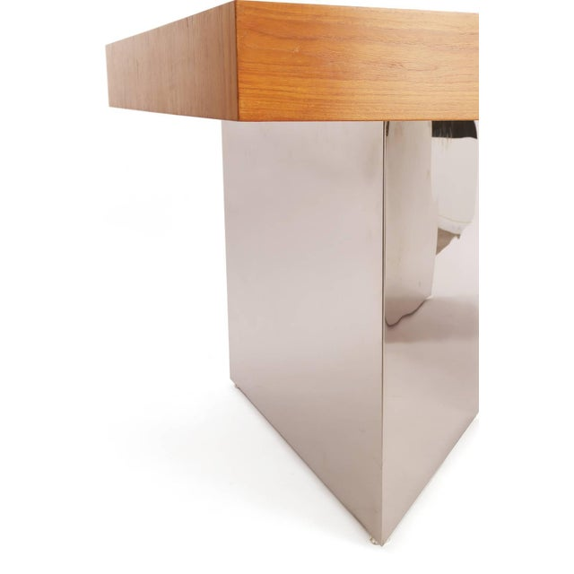 Stunning Teak and Polished Steel Desk by Pace For Sale In Phoenix - Image 6 of 7