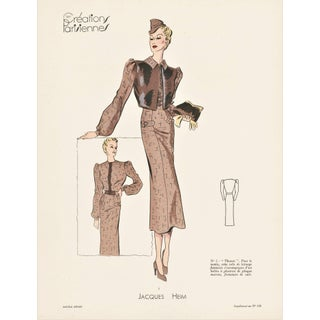 Vintage Art Deco French Fashion Print For Sale
