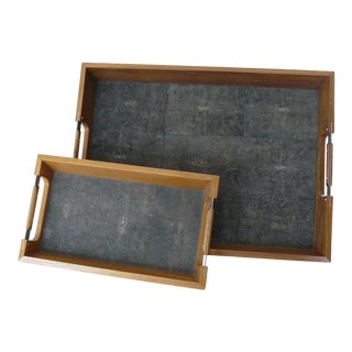 Wildwood Faux Shagreen and Wood Trays - a Pair For Sale