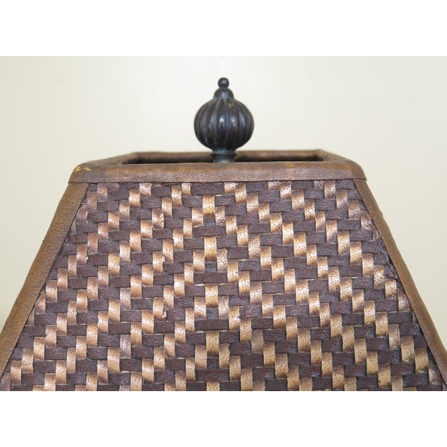 Animal Skin Carved Oak Lamps with Bronze Bases & Leather Shade - A Pair For Sale - Image 7 of 11