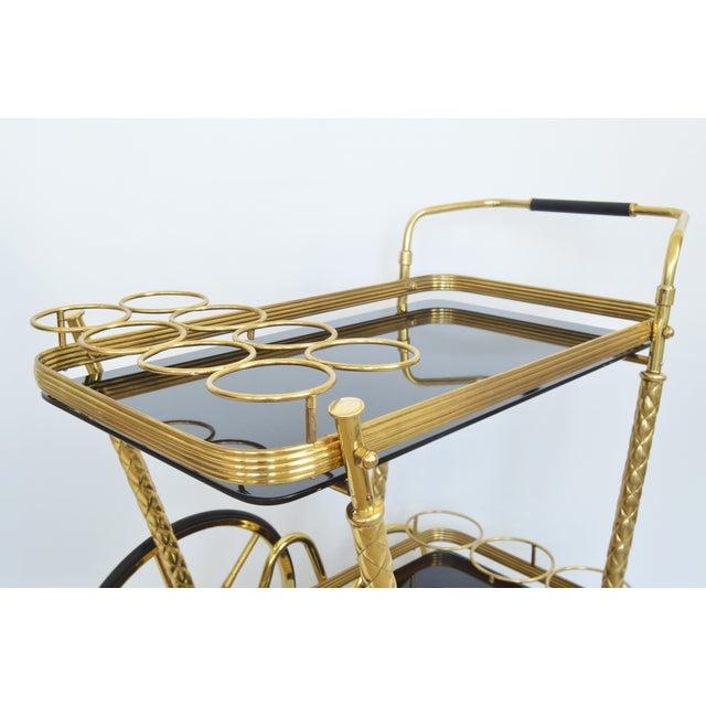 Vintage Italian Brass and Black Glass Bar Tea Cart Mid-Century Modern McM- Cesare Lacca Aldo Tura Style Venetian Millennial - Image 4 of 11