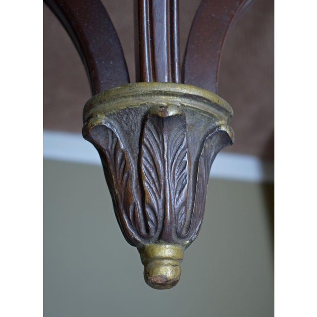 Antique Wall-Mounted Demi-Lune Table, Carved Mahogany With Gilt Accents - Image 4 of 9