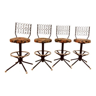 Mid-Century Modern Wrought Iron Chair Corp Bar Stools - Set of 4