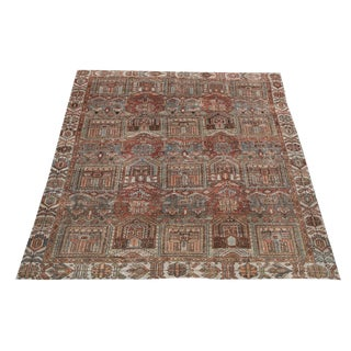 "Antique Persian Bakhtiar Distressed Wool Rug - 9'5""x6'10"" For Sale"