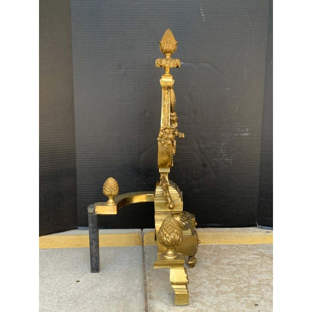 Gorgeous Pair of Louis XVI Style Gilt Bronze Lyre Motif Chenets, Large Scale For Sale - Image 12 of 13