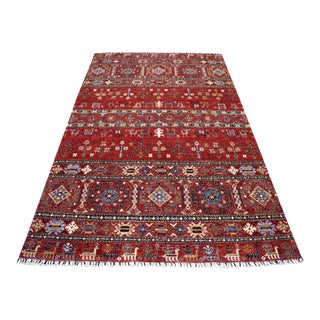 Khorjin Design Red Kazak Geometric Hand Knotted 100% Wool Rug For Sale