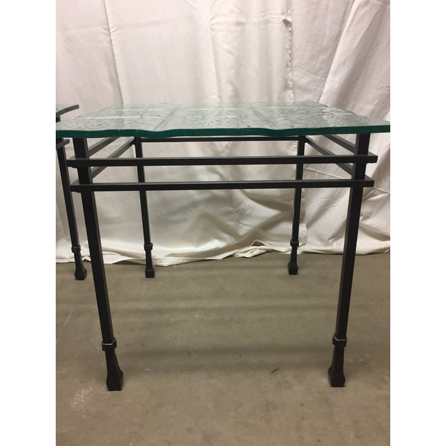 Charleston Forge Custom Glass/Iron End Tables - a Pair For Sale - Image 4 of 6