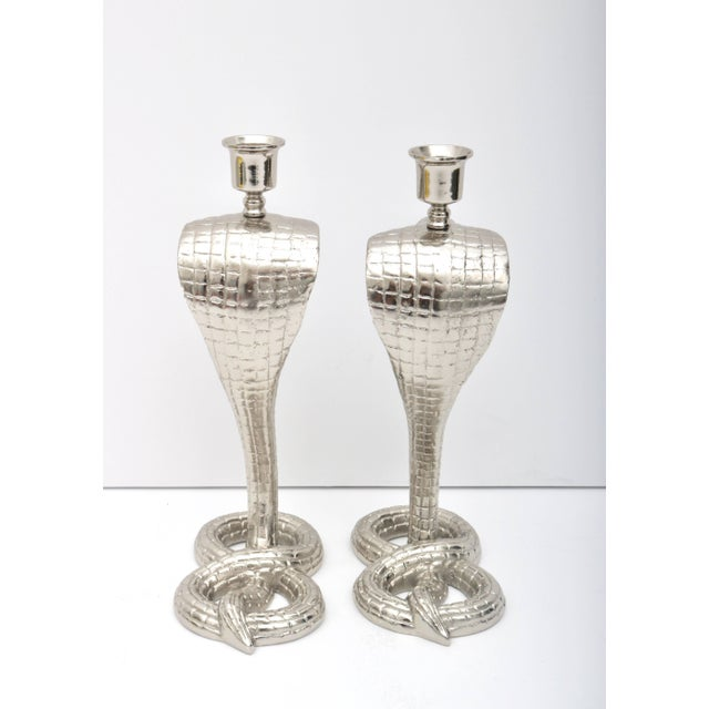 1920s Egyptian Revival Bronze Nickle-Plated Cobra Form Candle Holders - a Pair For Sale - Image 9 of 11