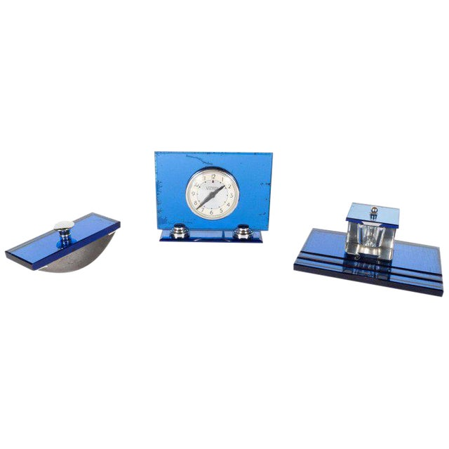 Three-Piece Art Deco Machine Age Cobalt Mirror and Chrome Desk Set by Victor For Sale