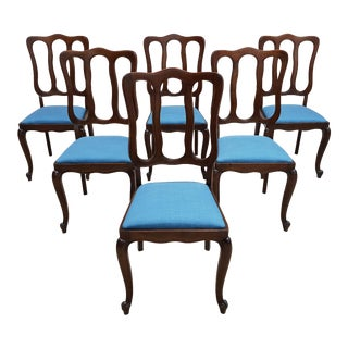 Set of 6 Louis XV Rococo Style Vintage 1950s Upholstered French Oak Blue Dining Chairs For Sale