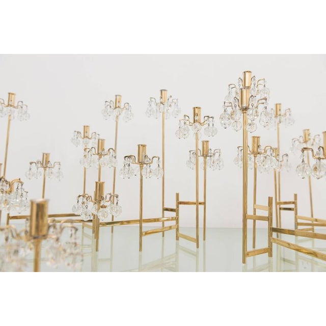Gold J. & L. Lobmeyr Brass and Swarovski Crystal Candlesticks - 15 Pc. For Sale - Image 8 of 11