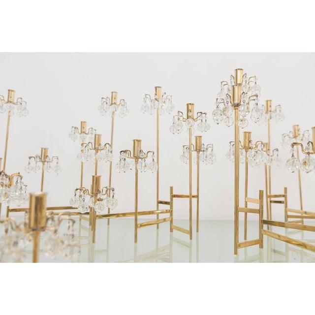 Brass J. & L. Lobmeyr Brass and Swarovski Crystal Candlesticks - 15 Piece For Sale - Image 8 of 11