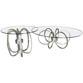 Chrome and Glass Coffee and End Table - Set of 2 For Sale