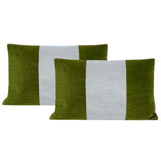 "12""x18"" Peridot and Mist Strie Velvet Lumbar Pillows - a Pair For Sale"