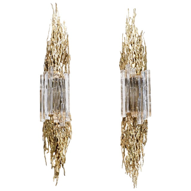Large Pair of Claude Victor Boeltz Bronze and Glass Sconces, 1970s For Sale