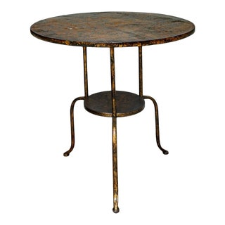 Antiqued Gold Tone Two Tired Metal Accent Table With Tripodal Spider Legs For Sale