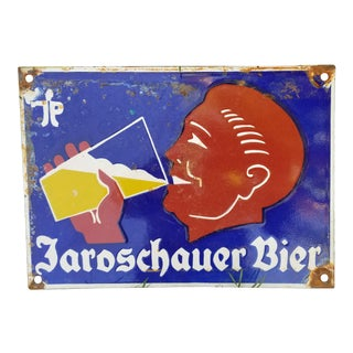 German Enamel Beer Sign For Sale