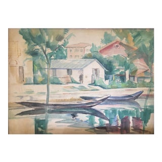 Landscape Watercolor Painting on Paper by Emanuel Fohn