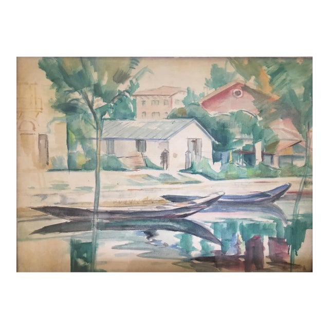 Landscape Watercolor Painting on Paper by Emanuel Fohn For Sale