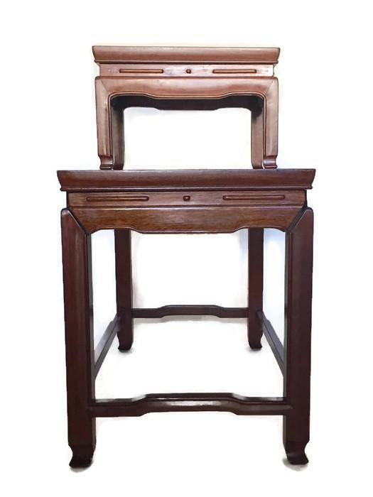 Ordinaire Asian Mid Century Modern Chinese Rosewood Side Tables Stacking Chinoiserie  Stands   A PAIR For Sale