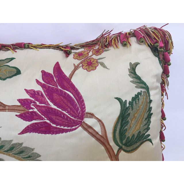 Silk Vintage Colorful Silk Pillow With Spring Fresh Flowers Designs and Trim For Sale - Image 7 of 13