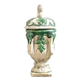 Vintage Mid Century Cast Concrete Lidded Urn For Sale