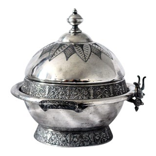 Antique Aesthetic Movement Victorian Silverplate Domed Butter Dish For Sale
