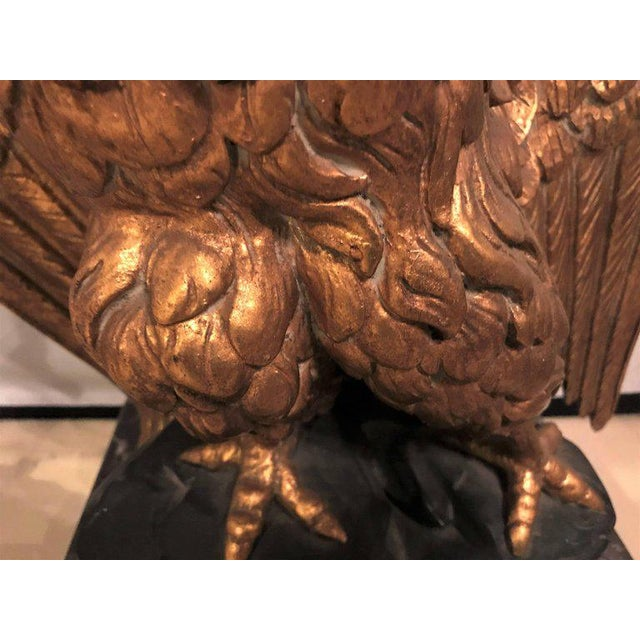 1950s Large Gilded Eagle Marble-Top Console or Pedestal For Sale - Image 5 of 12