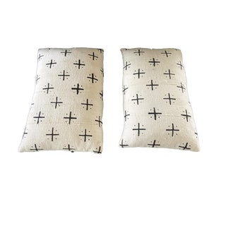 """African Custom Made Lumbar Authentic Mud Cloth Pillows Pair """"18""""w For Sale"""