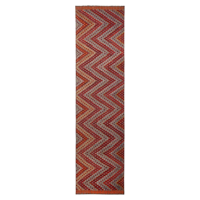 Vintage Mid-Century Geometric Red and Blue Wool Kilim Runner - 2′10″ × 10′10″ For Sale In New York - Image 6 of 6