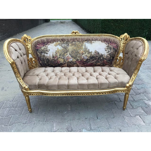 Beech French Louis XVI Style Corbeille Sofa For Sale - Image 7 of 7