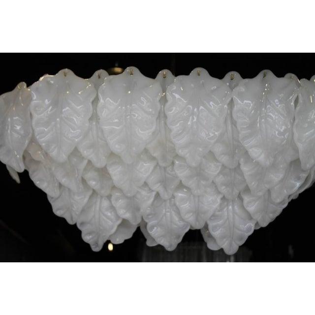 White Vintage White Italian Murano Light Chandelier Leaf For Sale - Image 8 of 11