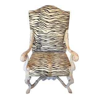 1990s Vintage Animal Hide Upholstered Throne Chair For Sale