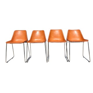 Modern Sol Y Luna Giron Leather Dining Side Chairs - Set of 4 For Sale
