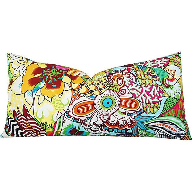 Large Custom Colorful Silk Floral Lumbar Pillow - Image 1 of 7