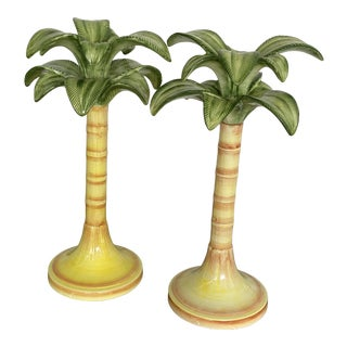 Coastal Italian Palm Tree Candle Holders-Pair For Sale