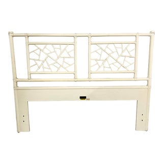 "Vintage McGuire Full Size ""Cracked Ice"" Rattan Headboard For Sale"