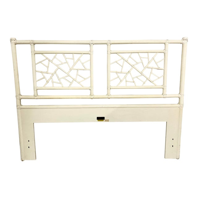 """Vintage McGuire Full Size """"Cracked Ice"""" Rattan Headboard For Sale"""