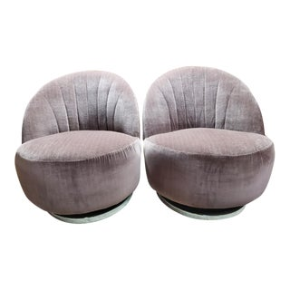 Mid Century Modern Milo Baughman Channel Back Swivel Chairs Newly Upholstered- Pair For Sale