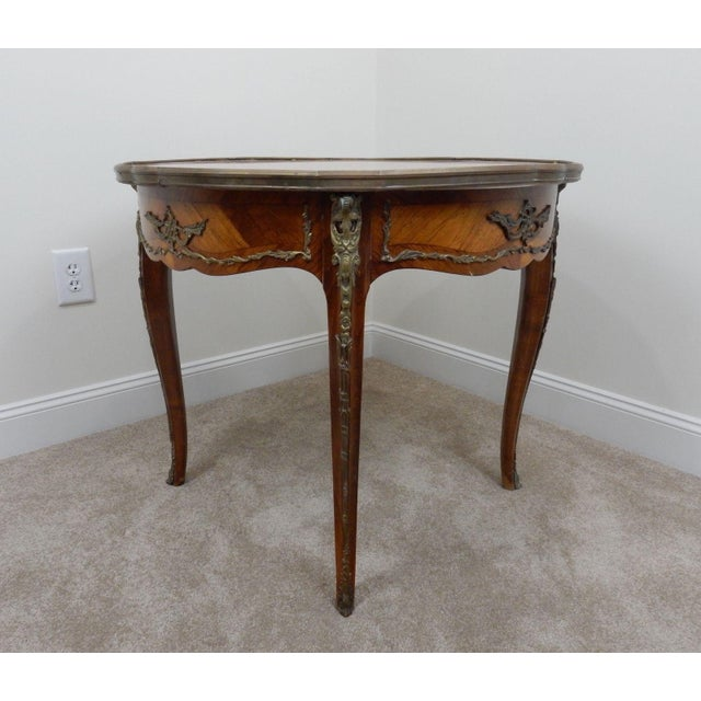 Orange Antique French Inlaid Marble Top Table For Sale - Image 8 of 11