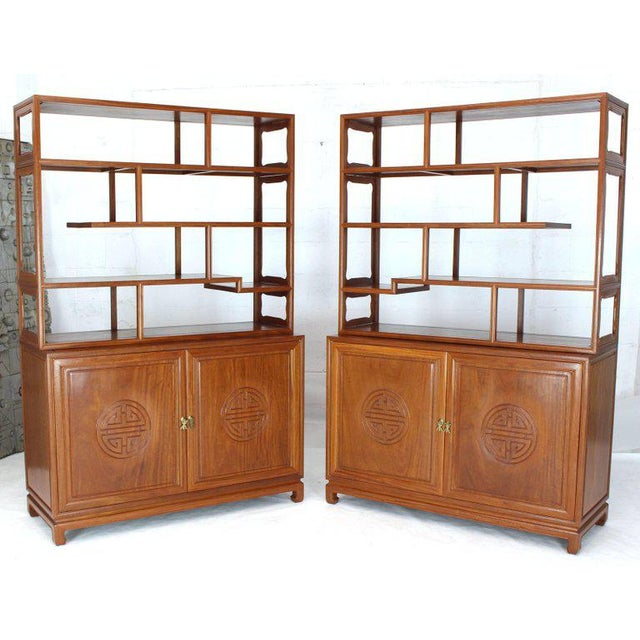 1990s Asian Solid Teak Étagère/Double Carved Door Cabinets - a Pair For Sale - Image 13 of 14